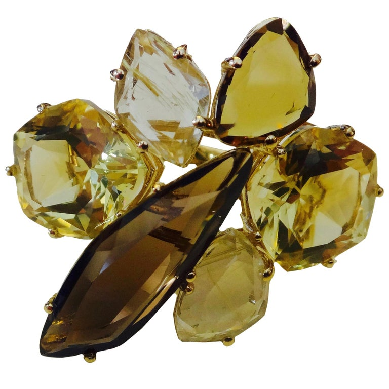 Michael Kneebone Smokey Quartz Lemon Citrine Rutilated Quartz Gold Cluster Ring For Sale