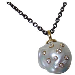 Michael Kneebone South Seas Pearl Diamond 18 Karat Gold Blackened Steel Pendant