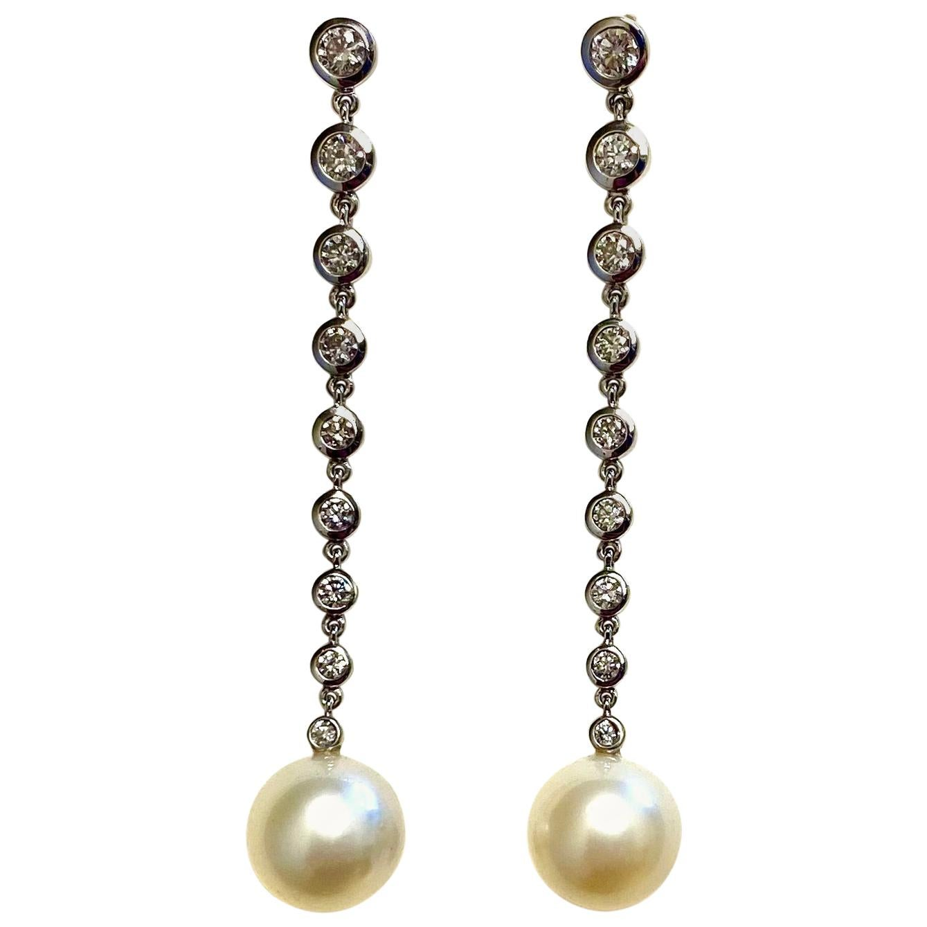 Michael Kneebone South Seas Pearl Diamond White Gold Dangle Earrings