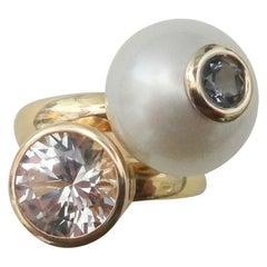 Michael Kneebone South Seas Pearl Silver Sapphire Stacking Leah Rings