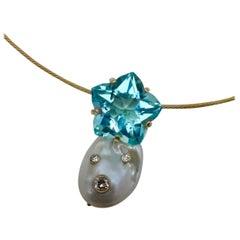 Michael Kneebone Star Cut Blue Topaz Cloud Pearl Diamond Pendant