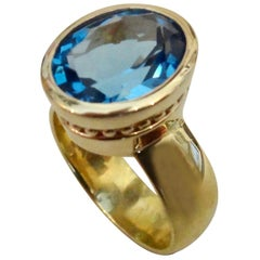 Michael Kneebone Swiss Blue Topaz 18 Karat Gold Leah Ring