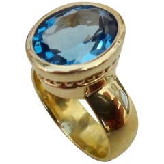 Michael Kneebone Swiss Blue Topaz 18 Karat Gold Leah Ring