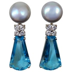 Michael Kneebone Swiss Blue Topaz Diamond Gray Pearl Dangle Earrings