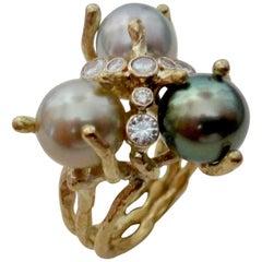 Michael Kneebone Tahitian Pearl Diamond Cluster Cocktail Ring