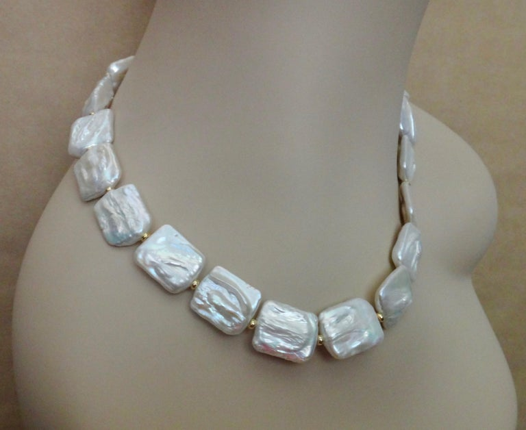 Women's Michael Kneebone Tile Pearl Gold Bead Necklace For Sale