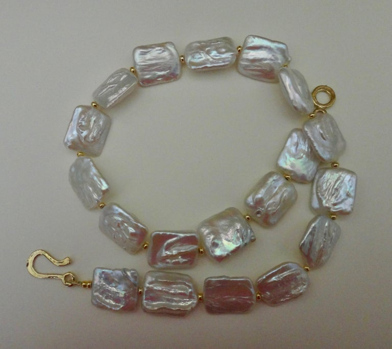 Michael Kneebone Tile Pearl Gold Bead Necklace For Sale 1