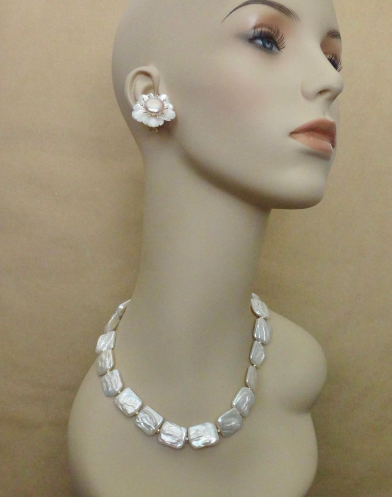 Michael Kneebone Tile Pearl Gold Bead Necklace For Sale 2