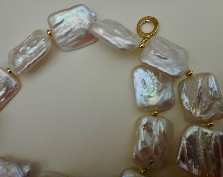 Michael Kneebone Tile Pearl Gold Bead Necklace For Sale 3