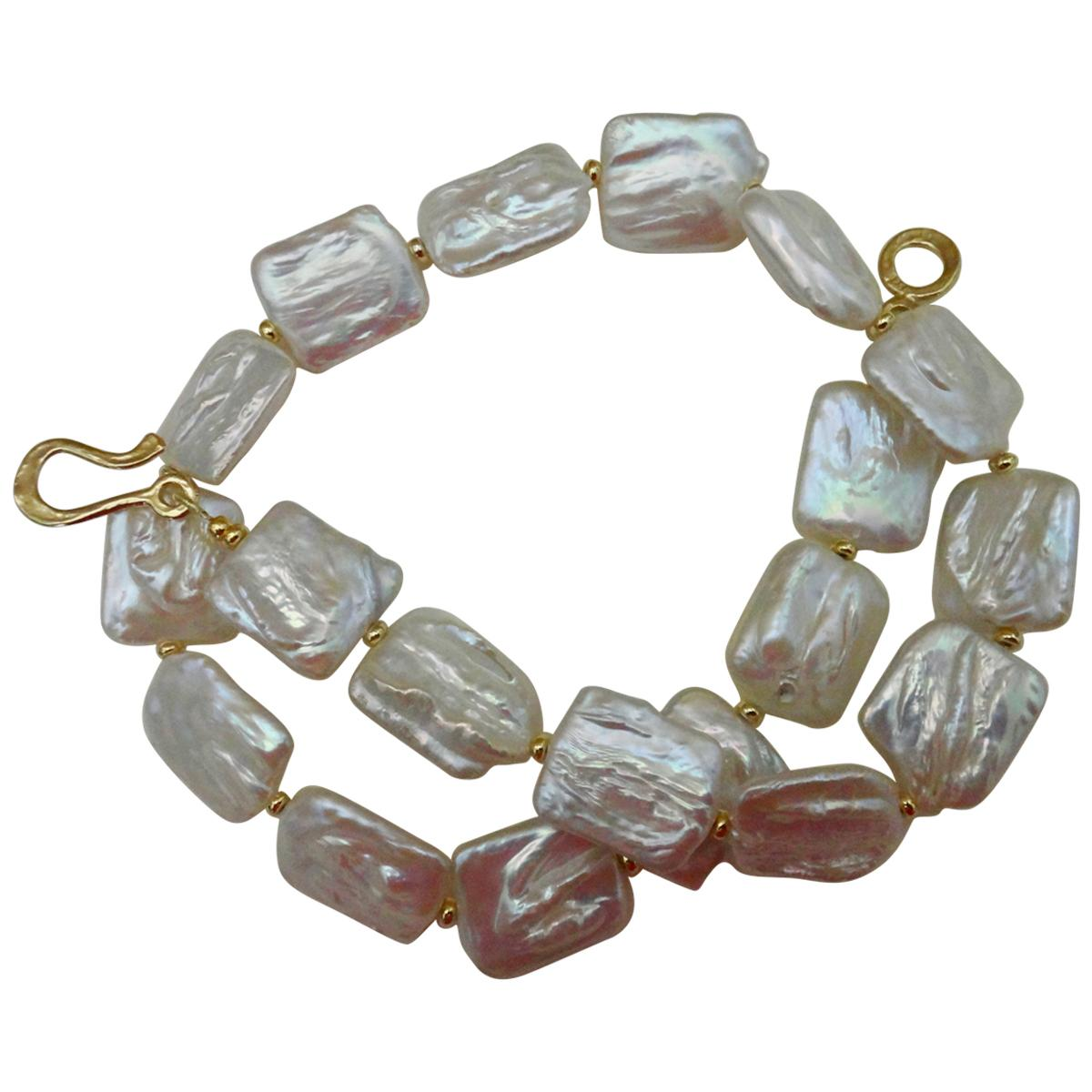 Michael Kneebone Tile Pearl Gold Bead Necklace