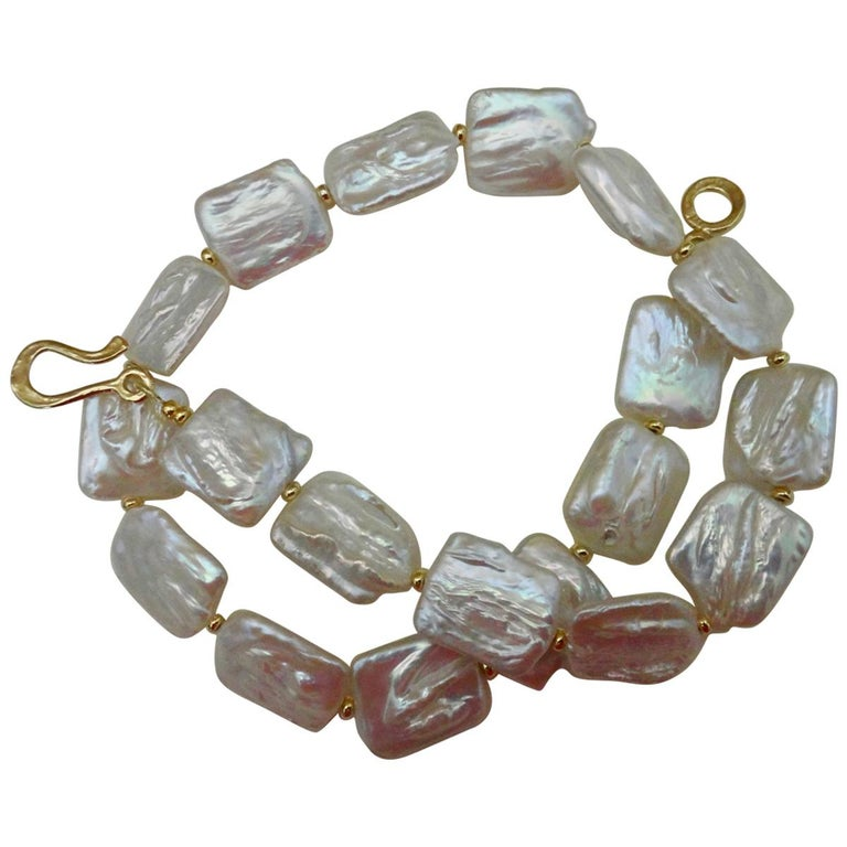 Michael Kneebone Tile Pearl Gold Bead Necklace For Sale