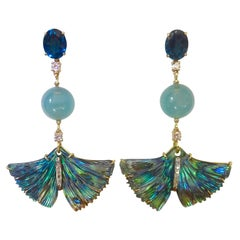 Michael Kneebone Topaz Aquamarine Diamond Abalone Ginkgo Leaf Dangle Earrings