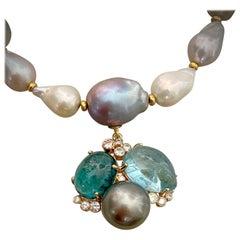 Michael Kneebone Tourmaline Aquamarine Tahitian Pearl Confetti Necklace