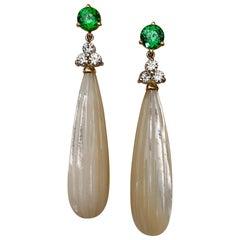 Michael Kneebone Tsavorite Garnet Diamond Mother of Pearl Dangle Earrings