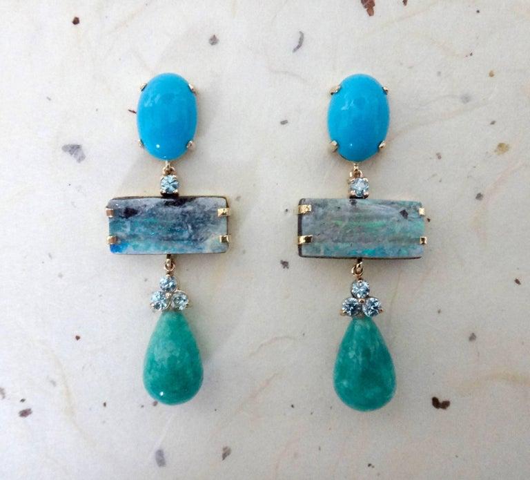 Contemporary Michael Kneebone Turquoise Zircon Boulder Opal Amazonite Dangle Earrings For Sale