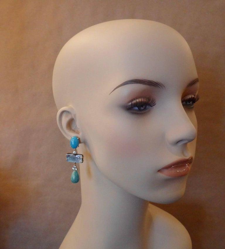 Michael Kneebone Turquoise Zircon Boulder Opal Amazonite Dangle Earrings In Excellent Condition For Sale In Palm Desert, CA