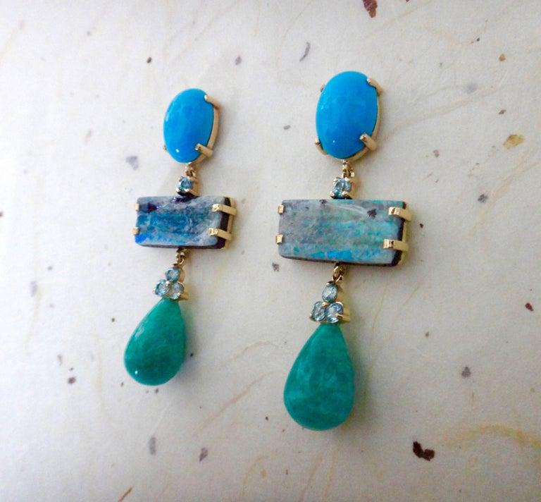 Women's Michael Kneebone Turquoise Zircon Boulder Opal Amazonite Dangle Earrings For Sale