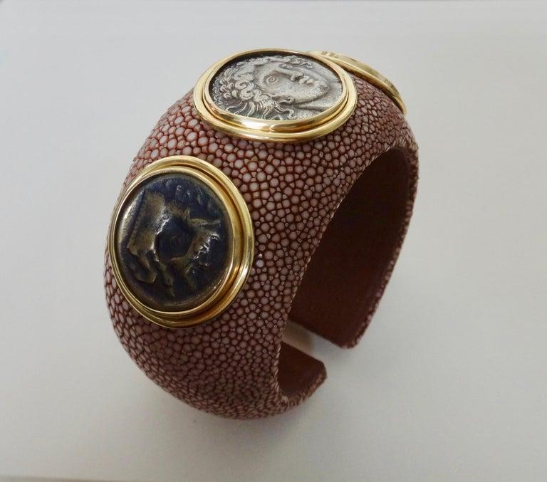 Michael Kneebone Venerable Three Coin Shagreen Cuff Bracelet For Sale 4