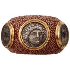 Michael Kneebone Venerable Three Coin Shagreen Cuff Bracelet
