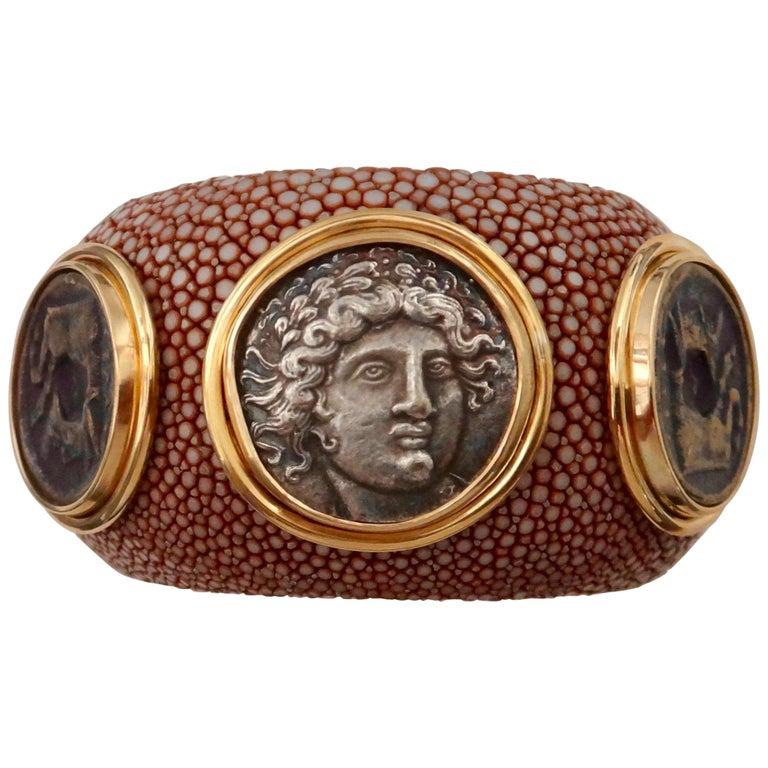 Michael Kneebone Venerable Three Coin Shagreen Cuff Bracelet For Sale