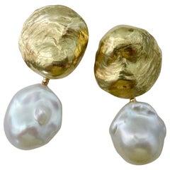Michael Kneebone White Baroque Pearl 18 Karat Yellow Gold Jingle Earrings