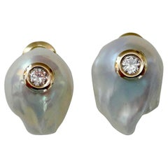 Michael Kneebone White Baroque Pearl White Diamond Stud Earrings