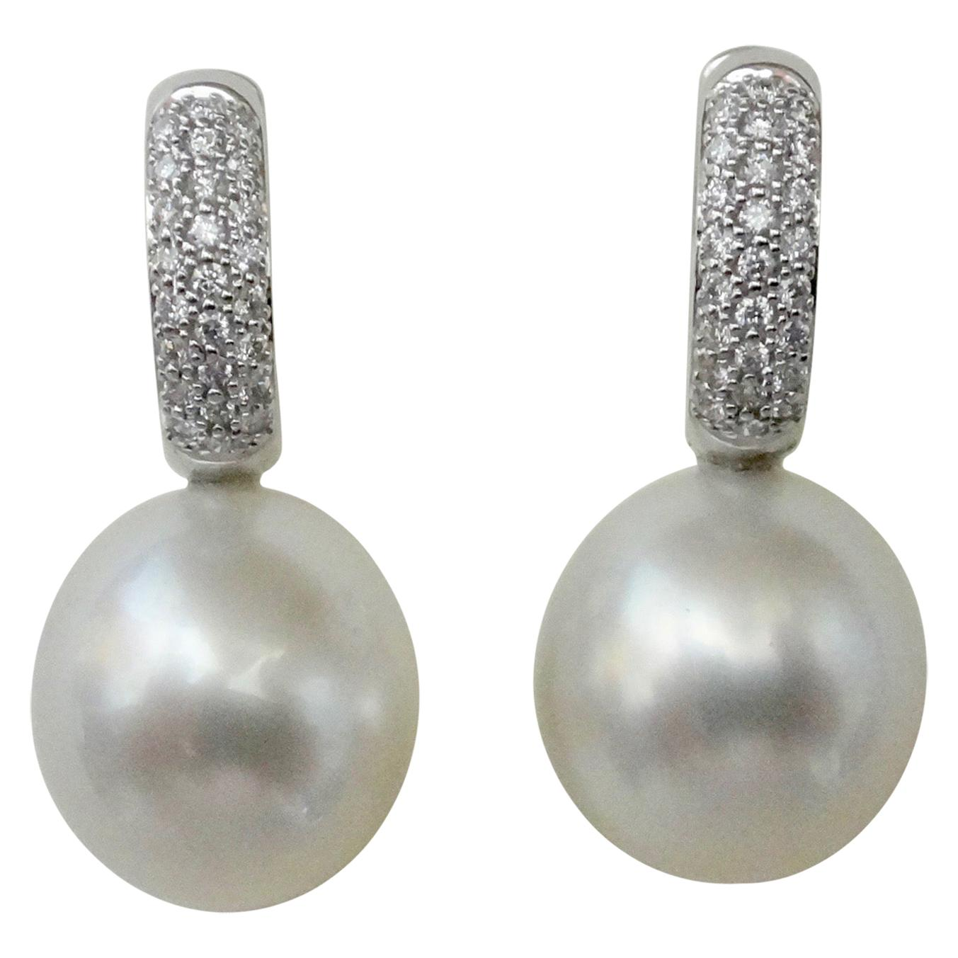 Michael Kneebone White Diamond Paspaley South Seas Pearl Drop Earrings