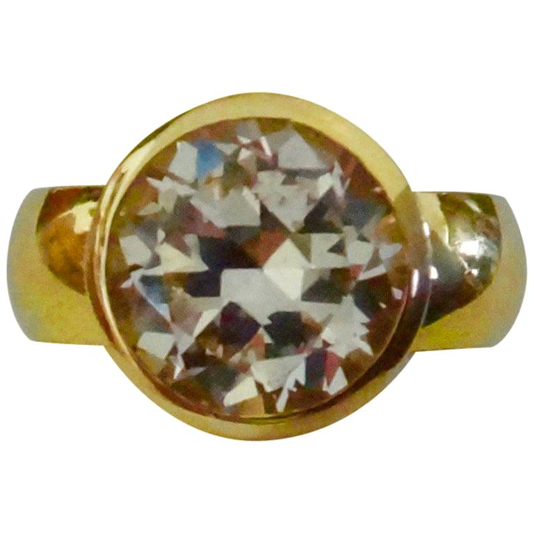 Michael Kneebone White Sapphire 18 Karat Gold Leah Ring For Sale