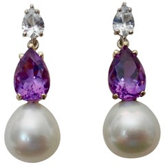 Michael Kneebone White Sapphire Amethyst South Seas Pearl Dangle Earrings