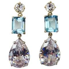 Michael Kneebone White Sapphire Blue Zircon White Topaz Dangle Earrings