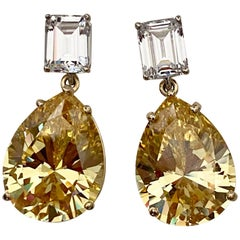 Michael Kneebone White Sapphire Golden Topaz Dangle Earrings