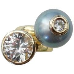 Michael Kneebone White Sapphire Tahitian Pearl Diamond Stacking Leah Rings