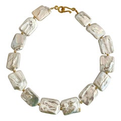 Michael Kneebone White Tile Baroque Pearl Bead Necklace