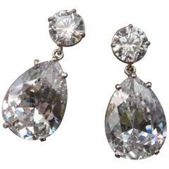 Michael Kneebone White Topaz White Sapphire Dangle Earrings