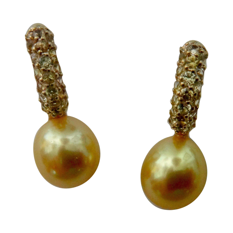 Michael Kneebone Yellow Diamond Golden South Seas Pearl Drop Earrings