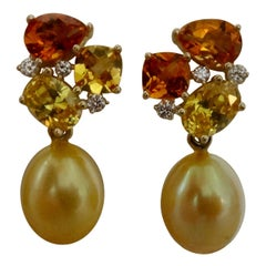 Michael Kneebone Yellow Sapphire Topaz Citrine Diamond Pearl Confetti Earrings