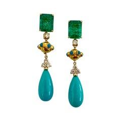 Michael Kneebone Zambian Emerald Diamond Persian Turquoise Dangle Earrings
