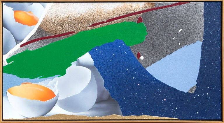 Artist:Michael Knigin, American (1942 - 2011) Title: Nothing Ventured Year: 1995 Medium: Acrylic & Enamel on Canvas, signed and titled verso Size: 26.5 x 48 inches