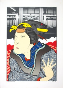 """""""Actor, After Kunishige,"""" original color lithograph by Michael Knigin"""