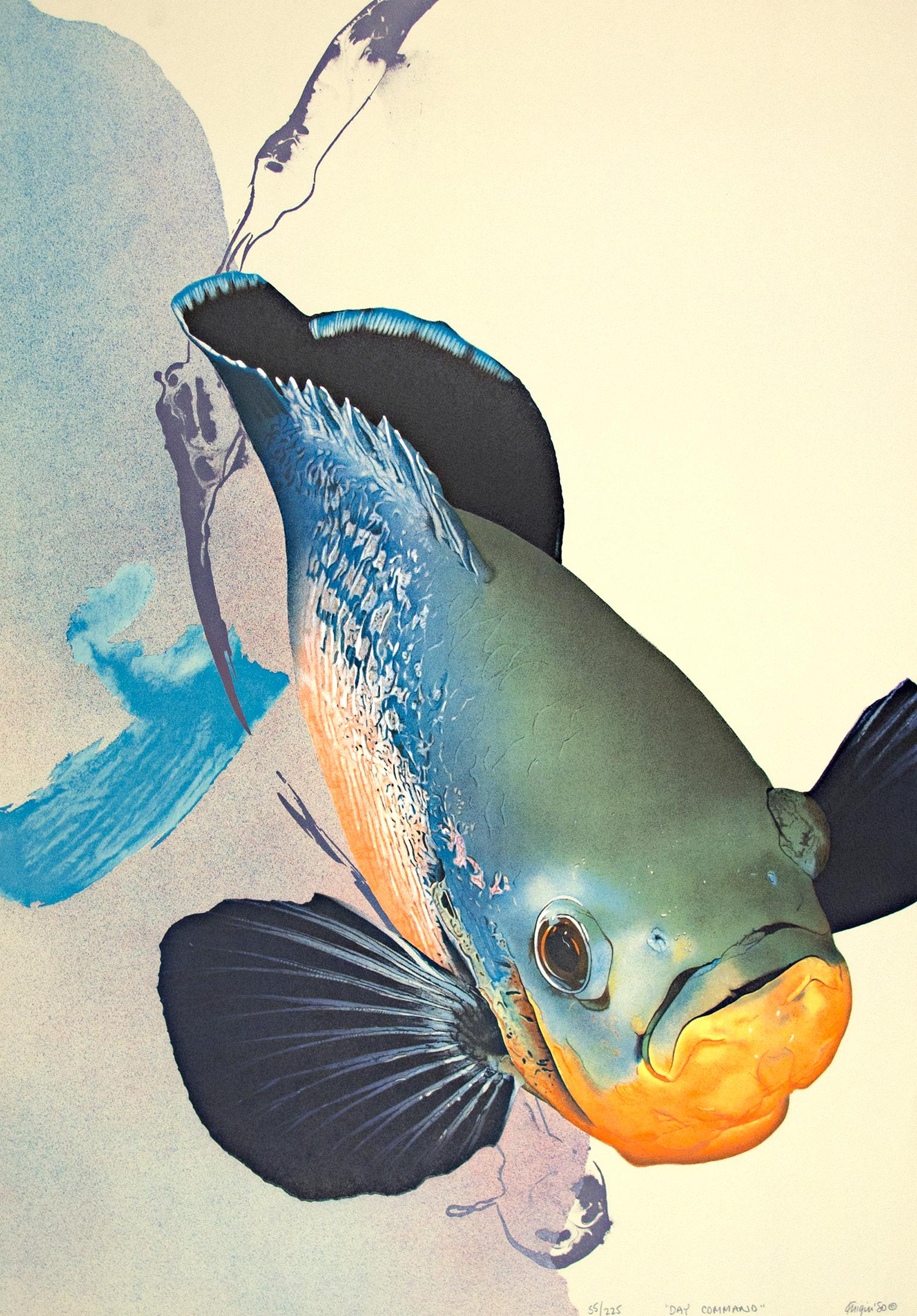 """""""Day Command,"""" Original Color Lithograph of a Fish signed by Michael Knigin"""