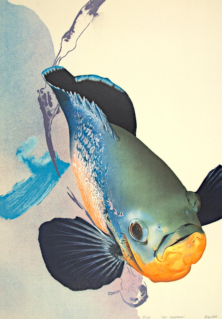 """""""Day Command"""" is an original color lithograph by Michael Knigin. The artist signed, dated, and titled the piece lower right. This piece is edition 55/255. It depicts a brightly-colored fish in front of an abstract background.   33"""" x 23 3/4"""""""