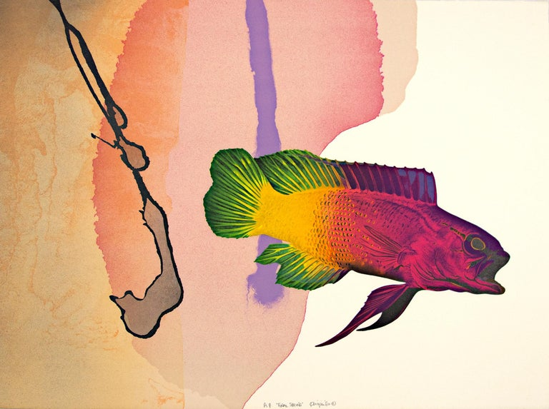 """""""Final Spring"""" is an original color lithograph by Michael Knigin. The artist signed and titled lower center. This piece is an artist's proof and features a brightly colored fish in front of an abstract background.   23 1/2"""" x 31"""" art Custom framing"""