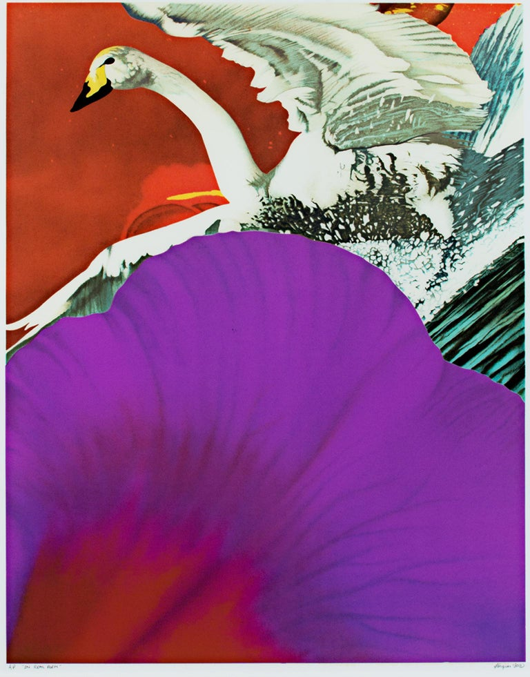 """""""In Real Form"""" is an original color lithograph by Michael Knigin. The artist signed the piece lower right and titled and wrote the edition number (A/P) lower left. This piece features a swan and a close-up view of a flower petal.   26"""" x 19 1/2"""""""
