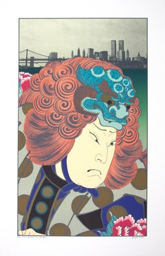 """Lion Dancer After Hirosada,"" lithograph from ""Osaka Series"" by Michael Knigin"