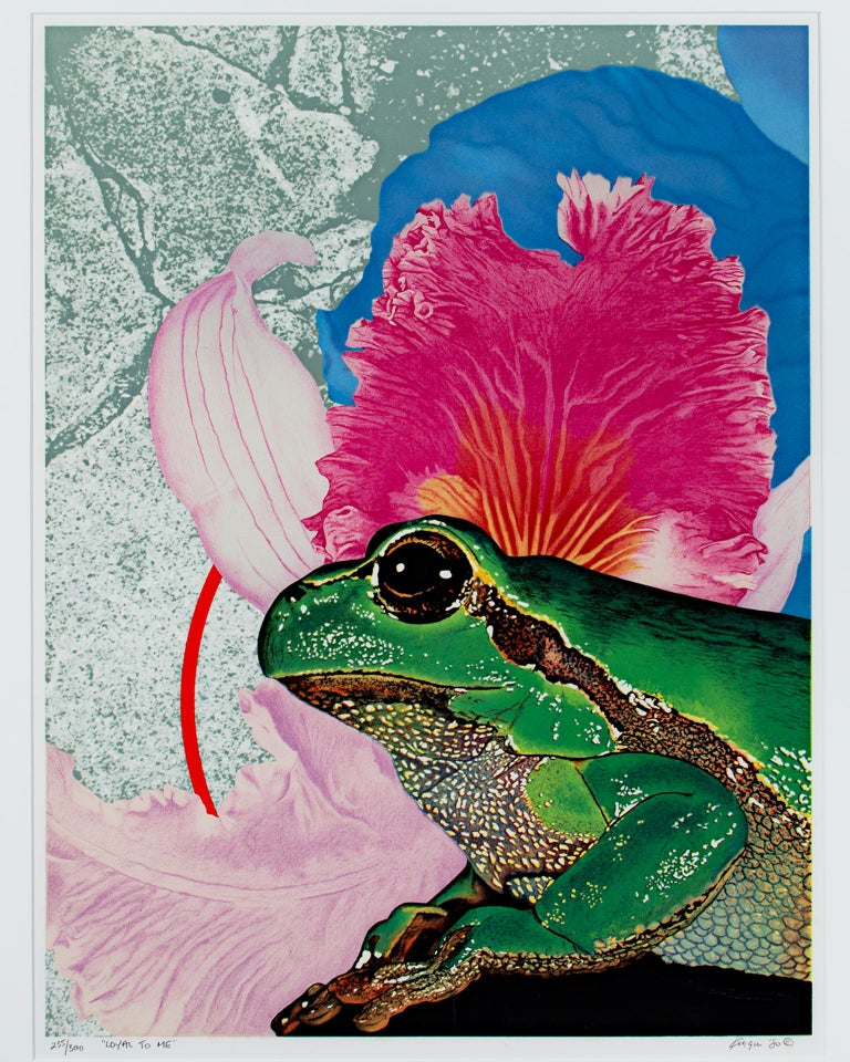 """""""Loyal To Me"""" is an original color lithograph by Michael Knigin. The artist signed and dated the piece lower right and titled it lower left. This piece is eition #235/300. It depicts a bright green frog in front of a pink flower and an abstract"""