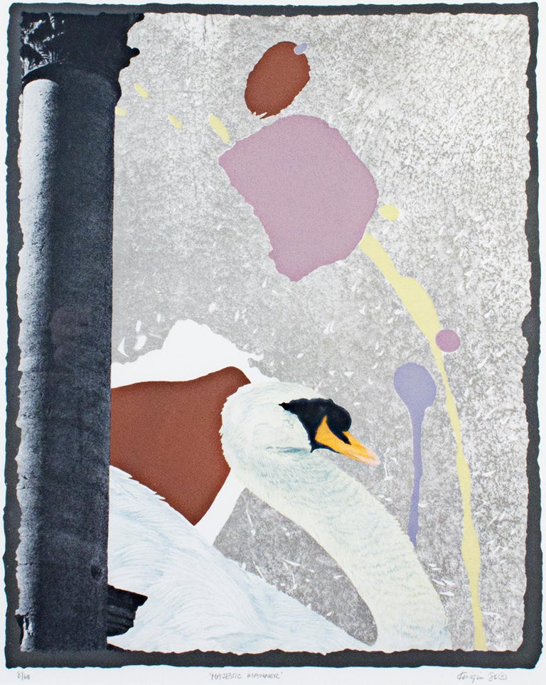 """""""Majestic Manner"""" is an original color lithograph by Michael Knigin. The artist signed the piece lower right and titled it lower center. This piece features a swan in front of an abstract background and a Corinthian column lower left. This piece is"""