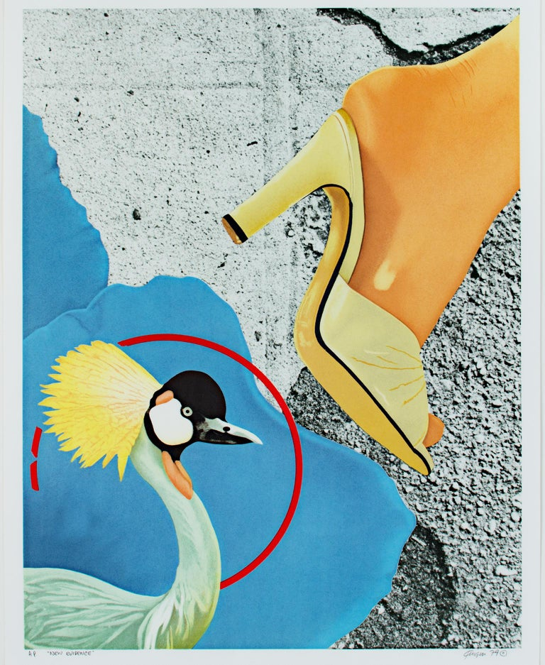 """""""New Evidence"""" is an original color lithograph by Michael Knigin. The artist signed & dated the piece lower right and titled it lower left. This is an artist's proof. This artwork features a gray crowned crane in the lower left and a woman with a"""