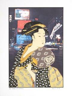 """Ohisai After Utamaro,"" original color lithograph by Michael Knigin"
