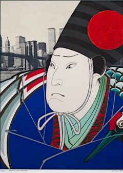 """""""Sambaso after Hirosada"""" from """"Osaka Series,"""" Color Lithograph by Michael Knigin"""