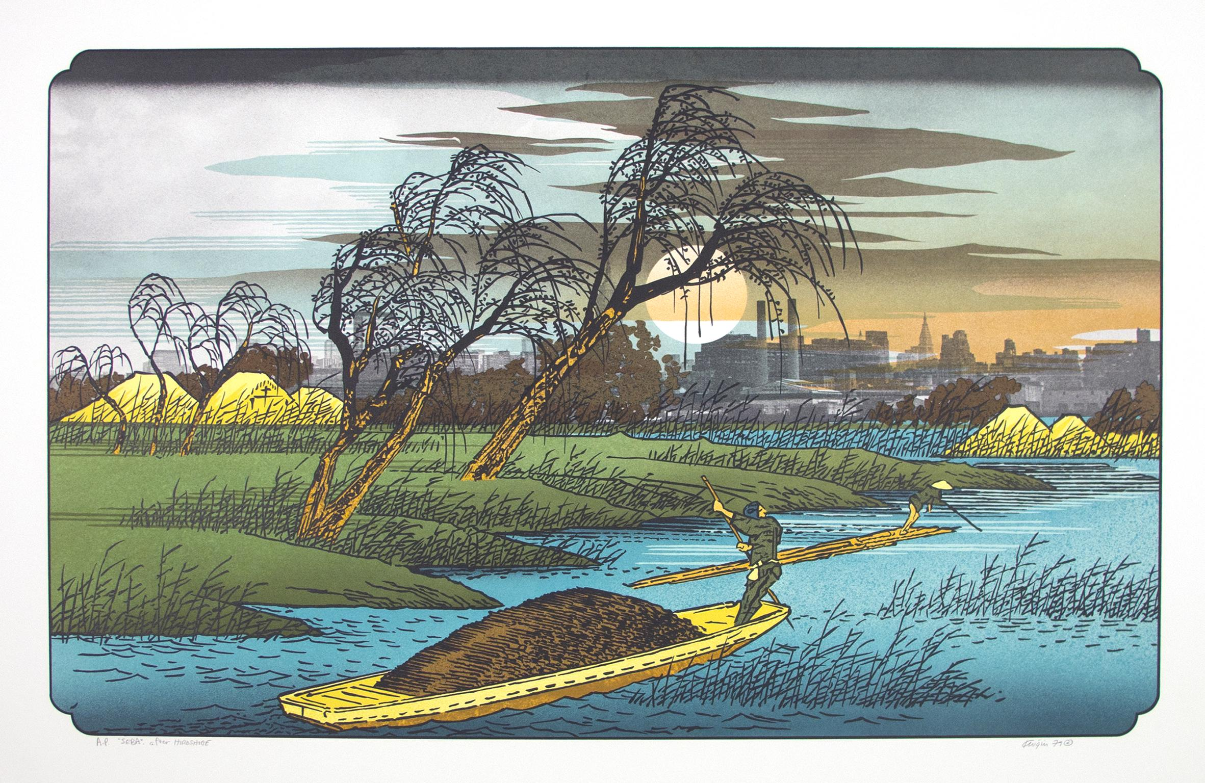 """""""Seba after Hiroshige"""" from """"Japanese Suite,"""" Color Lithograph by Michael Knigin"""